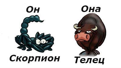 гороскоп совместимости женщина-Телец и мужчина-скорпион