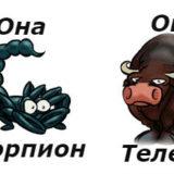 гороскоп совместимости женщина-Скорпион и мужчина-Телец