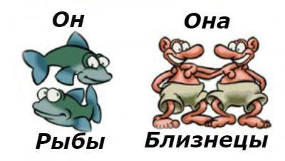 Женщина близнецы и обезьяна и мужчина рыбы и бык