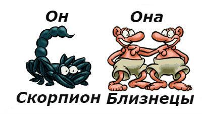 совместимость мужчина-скорпион и женщина-близнецы