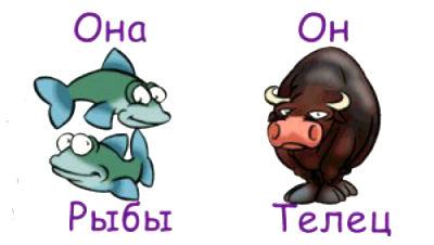 гороскоп совместимости мужчина-Телец и женщина-Рыба