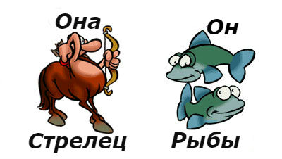 совместимость женщина-стрелец и мужчина-рыбы