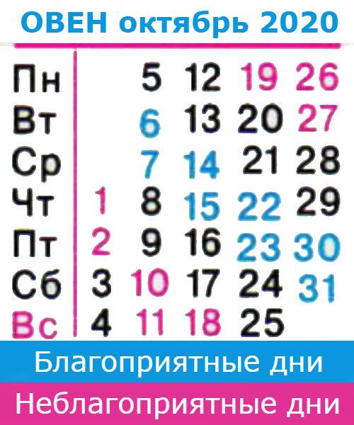 овен гороскоп на октябрь 2020 года