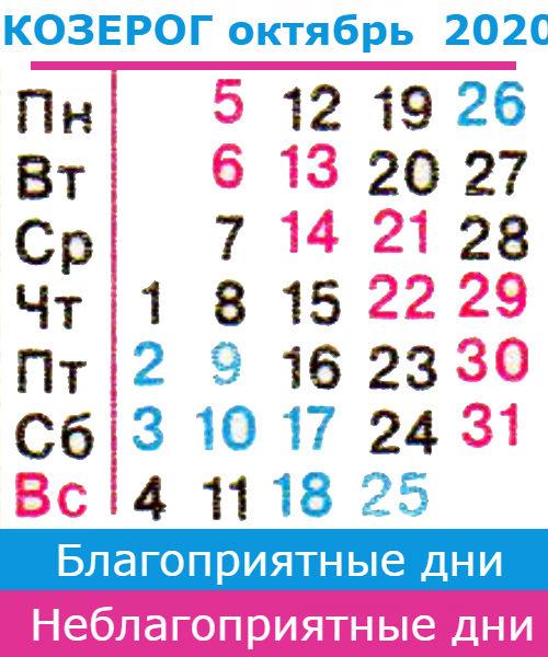 козерог гороскоп на октябрь 2020 года