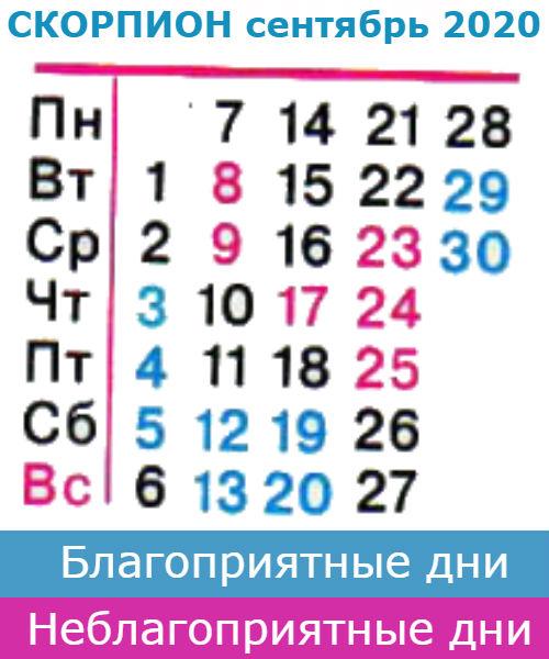 скорпион гороскоп на сентябрь 2020 года