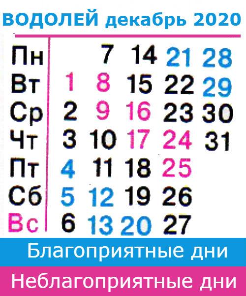 водолей гороскоп на декабрь 2020 года