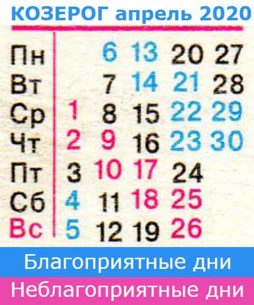 гороскоп козерог на апрель 2020 года
