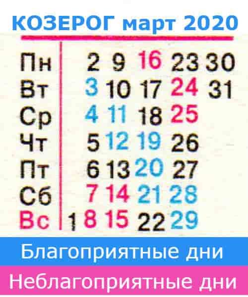 козерог гороскоп на март 2020 года