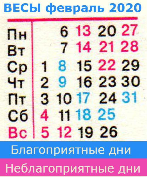 весы гороскоп на февраль 2020 года