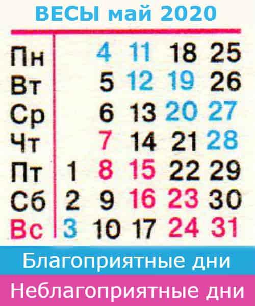 весы гороскоп на май 2020 года
