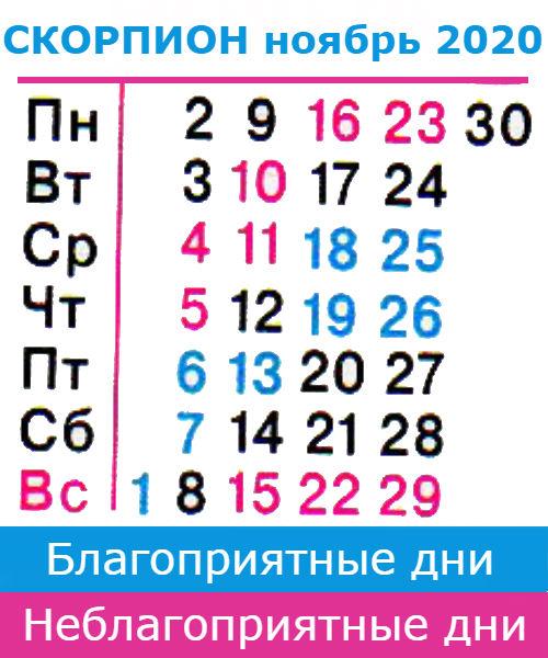 скорпион гороскоп на ноябрь 2020 года