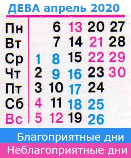 гороскоп дева на апрель 2020 года