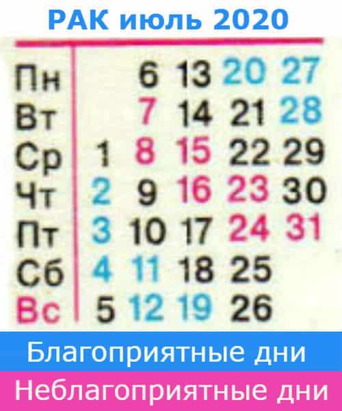 рак гороскоп на июль 2020 года