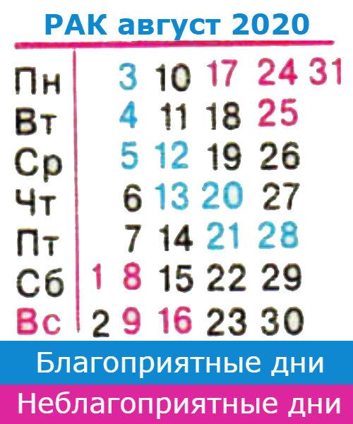 рак гороскоп на август 2020 года